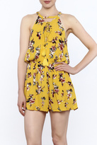 En Creme Yellow Floral Sleeveless Romper