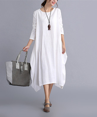 Belle de Jour Women's Casual Dresses white - White Long-Sleeve Linen-Blend Midi Dress - Women