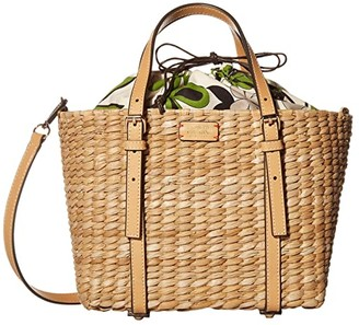 Frances Valentine Small Basket Tote Cornhusk with Vachetta (Natural Leaf) Handbags