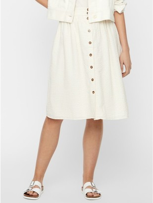 M&Co Vero Moda button stripe midi skirt