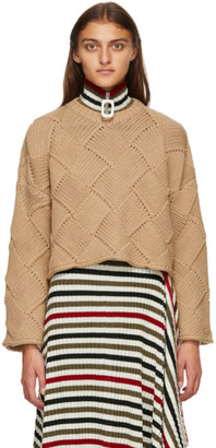 J.W.Anderson Tan Cropped Oversize Sweater