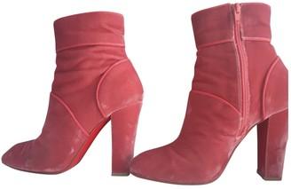 Christian Louboutin Pink Velvet Ankle boots