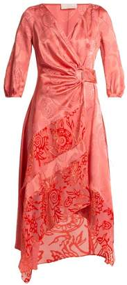 Peter Pilotto Floral-jacquard Satin Wrap Dress - Womens - Pink