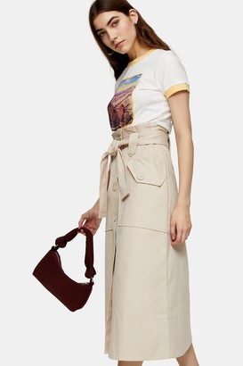 Topshop Stone Trench Belted Midi Skirt
