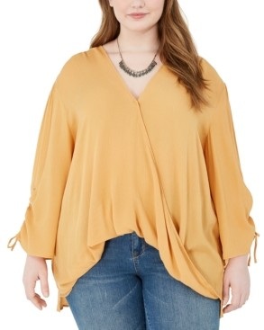 Band of Gypsies Trendy Plus Size Ruched-Sleeve Surplice Blouse