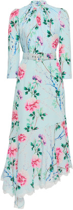 Andrew Gn Asymmetric Floral Silk Midi Dress