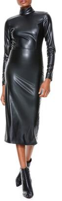 Alice + Olivia Delora Long Sleeve Faux Leather Midi Dress