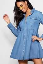 boohoo NEW Womens Lena Long Sleeve Denim Shirt Dress in Polyester