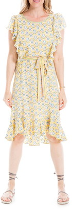 Max Studio Printed Flutter Sleeve Tie Waist Dress