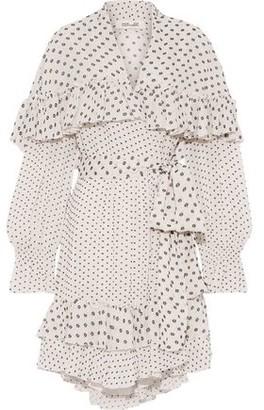 Diane von Furstenberg Martina Ruffled Fil Coupe Crepe Mini Wrap Dress