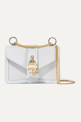Chloé Aby Chain Mini Textured And Smooth Leather Shoulder Bag - Light blue