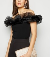 Thumbnail for your product : New Look Organza Puff Trim Bardot Bodysuit