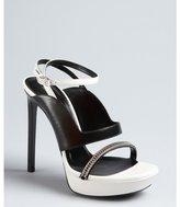 Saint Laurent black and porcelain leather chain detail platform sandals