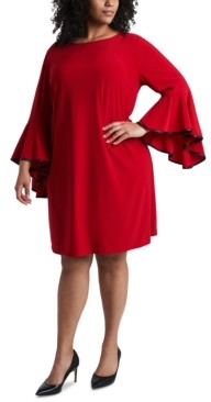 MSK Plus Size Faux-Leather-Piped Bell-Sleeve Shift Dress