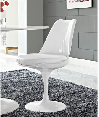Bsd National Supplies Venice Tulip Style Swivel Dining Chair with White Vinyl Cushioned Seat