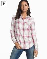 White House Black Market Petite Plaid Button-Up Shirt
