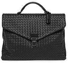 Bottega Veneta Men's Woven Leather Briefcase