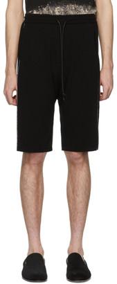 Isabel Benenato Black Crepe Embroidered Shorts