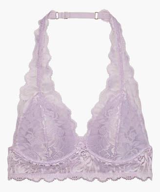 Savage X Fenty Women's Bralettes Purple - Purple Fairy Dust Lace Wireless Halter Bralette - Women