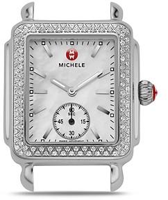 Michele Deco Mid 16 Diamond Stainless Steel Watch Head, 29 x 31mm