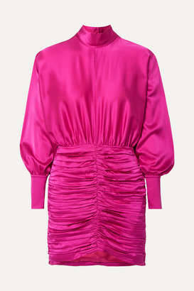 retrofete Barbara Ruched Silk-blend Charmeuse Mini Dress - Fuchsia
