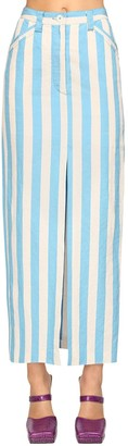 Sunnei Striped Cotton Blend Midi Pencil Skirt