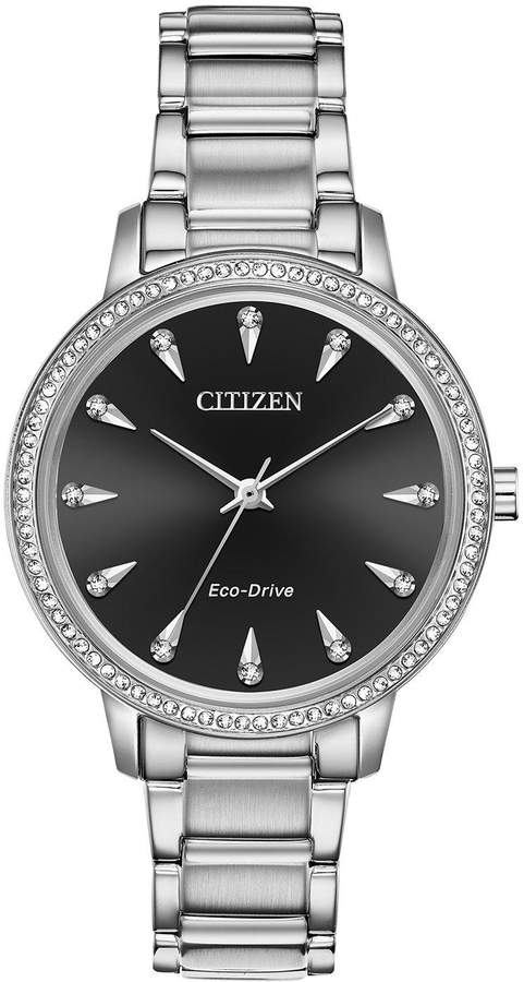 Citizen Eco-Drive Black Sunray Crystal Set Dial Stainless Steel Bracelet Ladies Watch