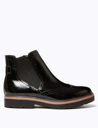 Marks and Spencer Leather Patent Brogue Chelsea Boots