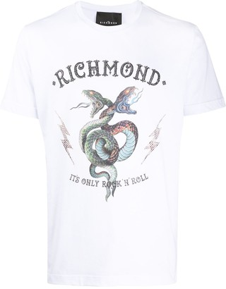 John Richmond crew neck snake print T-shirt