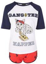 Petite 'gangster napper' cat pyjama set