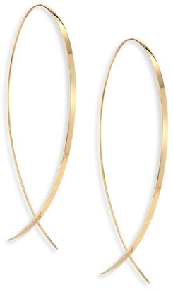 Lana Upside Down Large 14K Yellow Gold Flat Hoop Earrings/1.25""