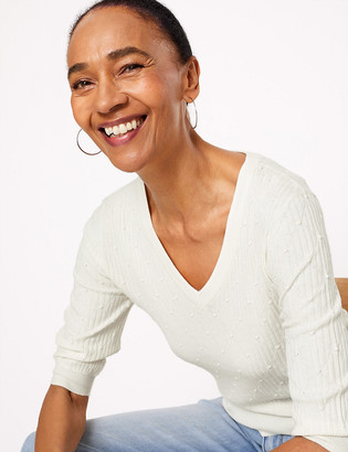 Marks and Spencer Textured Knitted V-Neck Top