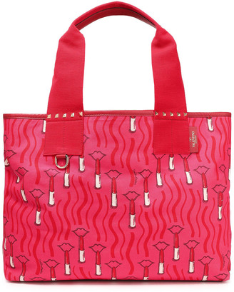 Valentino Leather-trimmed Studded Printed Canvas Tote