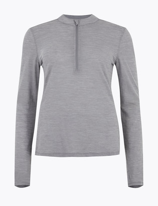Marks and Spencer Merinotec High Neck Half Zip Running Top