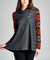 Tua Rust & Gray Geo Button Cowl Neck Top