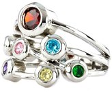 Nana Silver Bubble Mother's Ring - 1 to 7 Stone - Platinum Plated- Size 10.5