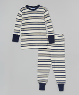 Baby Steps Navy & Cream Rugby Stripe Pajama Set - Infant & Kids