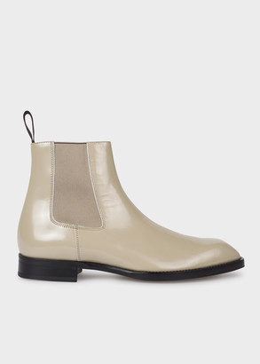 Paul Smith Men's Taupe High-Shine Leather 'Stealth' Boots
