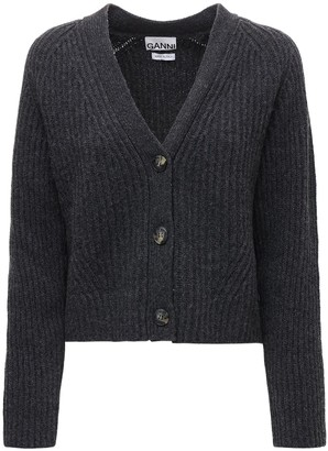 Ganni Wool Blend Rib Knit Cardigan