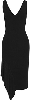 Cushnie Asymmetric Open Knit-paneled Ribbed-knit Dress