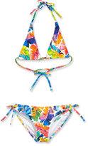 Milly Minis Banana Leaf Triangle Halter Bikini, Multicolor, Size 8-14