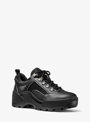 Michael Kors Brooke Leather And Glitter Chain-Mesh Trek Sneaker