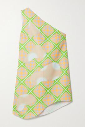 MAISIE WILEN Bam Bam One-shoulder Appliqued Printed Shell Mini Dress - Green