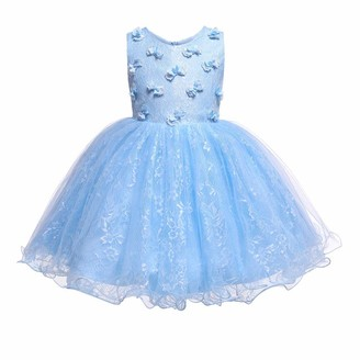 IMEKIS Kid Baby Girls Flower Princess Dress Bowknot Lace Tulle Tutu Elegant Bridesmaid Wedding Formal Party Gown Birthday Pageant Evening Dress Sleeveless Knee Length Ball Gown Purple 12-18 Months