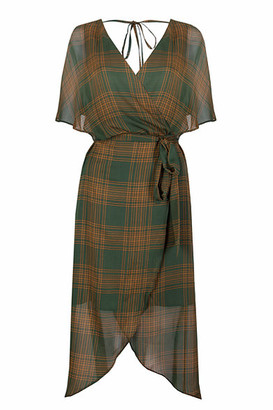 Jovonna London Kaia Check Print Dress - XS | khaki - Khaki