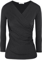 Max Mara Stretch-jersey Wrap-effect Top - Dark gray