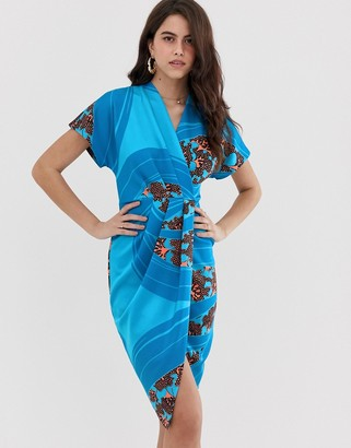 Closet London Closet draped kimono dress-Blue