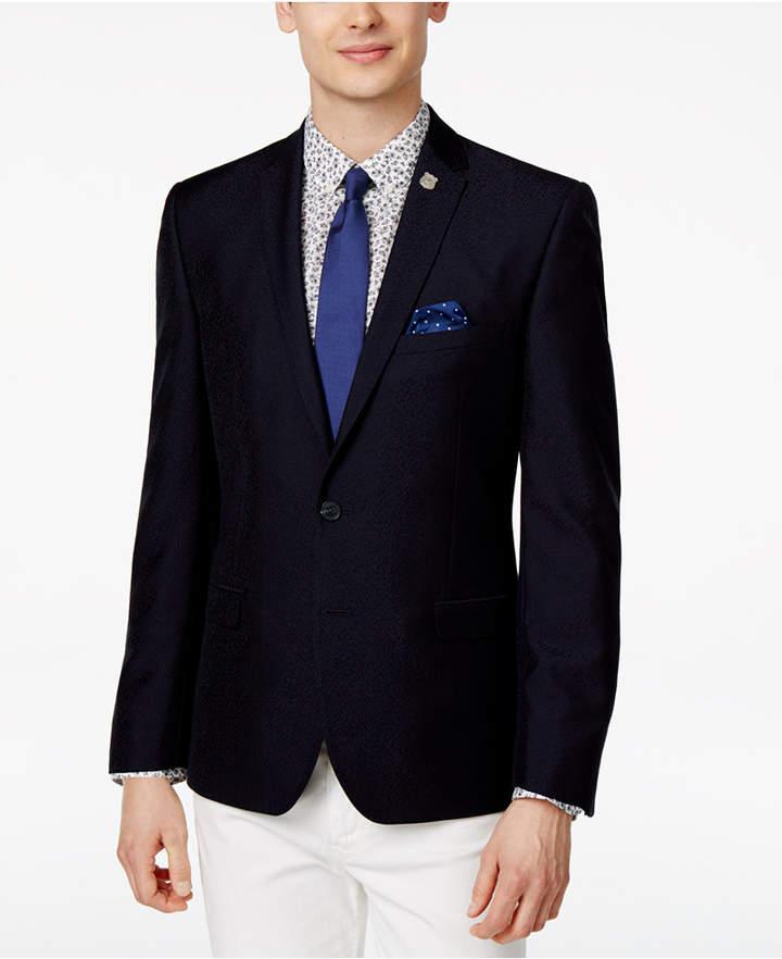 Nick Graham Men's Slim-Fit Navy Cheetah Print Sport Coat
