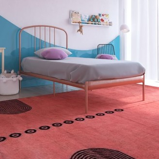 Your Zone Modern Metal Bed, Bed for Kids, Rose Gold, Twin Size Frame