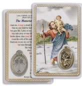 Gifts by Lulee Saint Christopher Motorist Prayer Laminated Prayer Card with Medal Blessed By Pope Francis